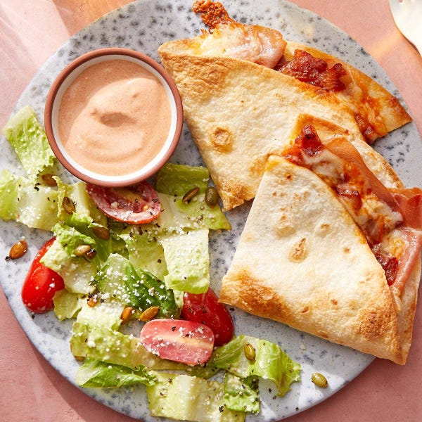 Baked Prosciutto Quesadillas with Onion & Monterey Jack Cheese