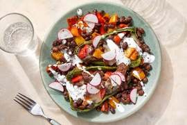 Beef & Cheese-Stuffed Peppers with Lime Sour Cream & Marinated Radishes