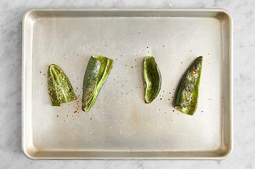 Prepare & roast the poblano peppers:
