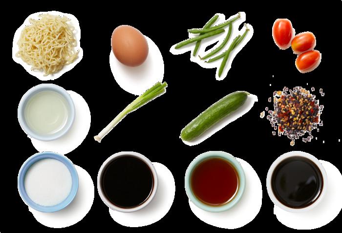 Hiyashi Chuka Ramen with Tomatoes, Green Beans & Soft-Boiled Eggs