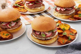 Lemongrass & Ginger Turkey Burgers with Marinated Radishes & Roasted Sweet Potatoes