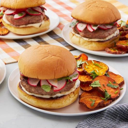 Lemongrass & Ginger Turkey Burgers with Marinated Radishes & Roasted Sweet Potatoes