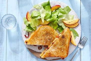 Sweet Pepper & Fig Grilled Cheese with Butter Lettuce & Peach Salad