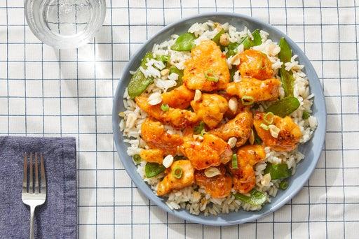 Sweet & Spicy Chicken with Snow Peas & Jasmine Rice