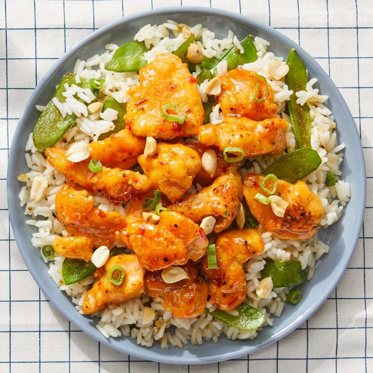 Sweet & Spicy Chicken with Snow Peas & Jasmine Rice