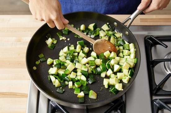 Cook the vegetables & finish the rice: