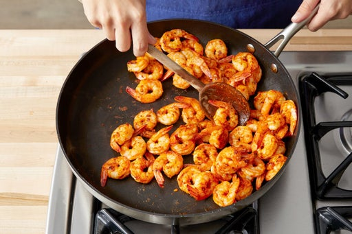 Cook the shrimp & serve your dish: