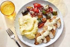 Italian Chicken & Creamy Garlic Dressing with Mashed Potatoes & Balsamic Vegetables