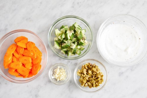 Prepare the ingredients & make the garlic yogurt: