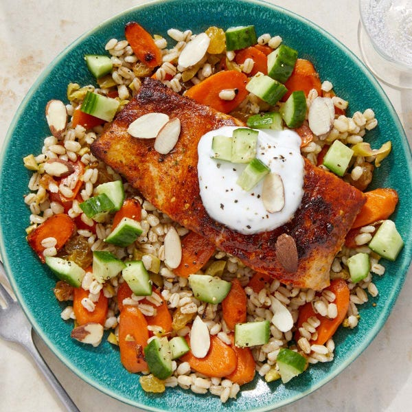 Middle Eastern-Style Salmon & Barley with Dressed Cucumber & Garlic Yogurt