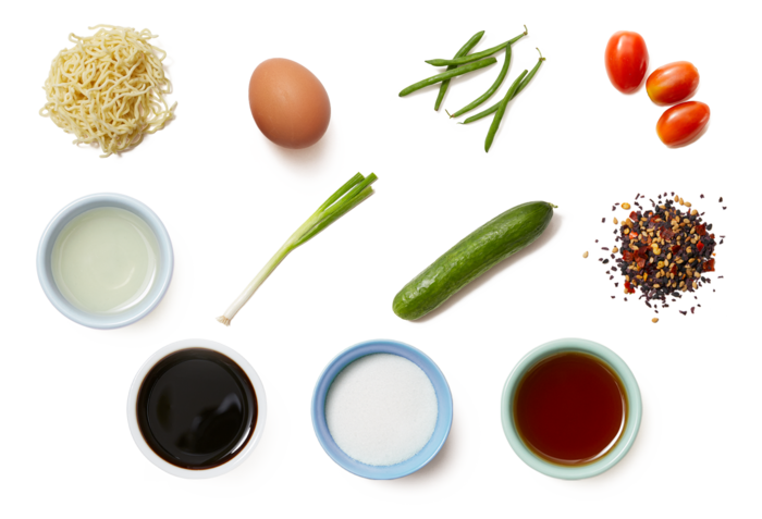 Vegetable Hiyashi Chuka with Fresh Ramen Noodles & Soft-Boiled Eggs