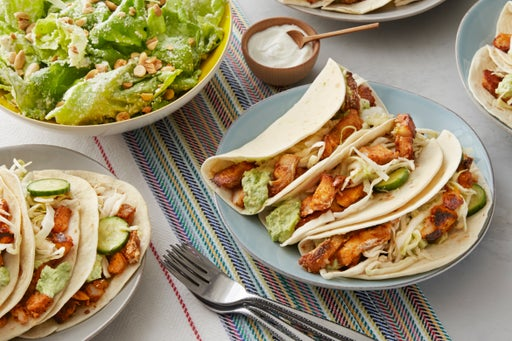 Spiced Cod Tacos with Mashed Avocado & Butter Lettuce-Peanut Salad