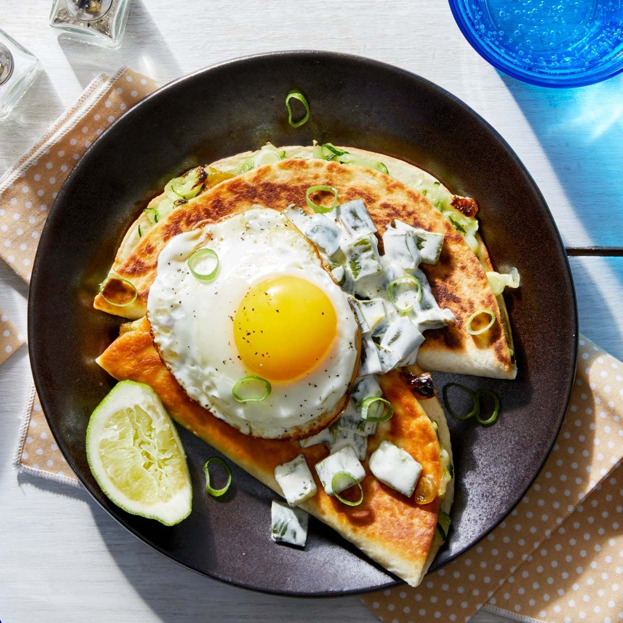 Spicy Zucchini Quesadillas with Poblano Pepper & Fried Eggs