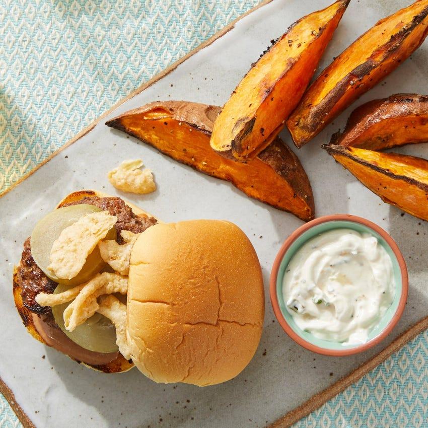 Smoky BBQ Burgers with Sweet Potato Wedges & Scallion Sour Cream