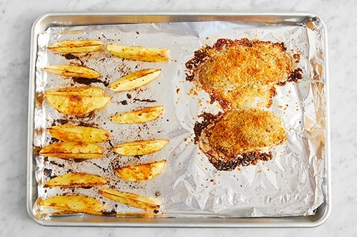Bake the chicken & potatoes: