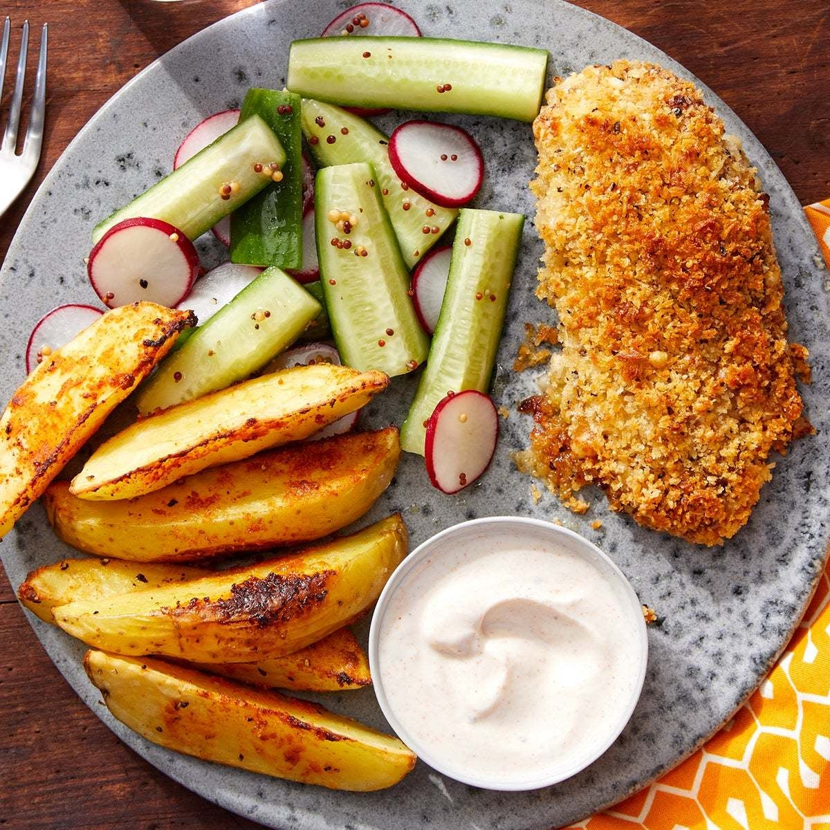 Cheesy Panko-Crusted Chicken with Roasted Potato Wedges & Pickled Vegetables
