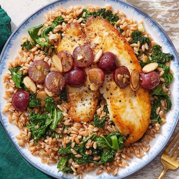 Tilapia & Brown Butter-Grape Pan Sauce with Farro & Kale