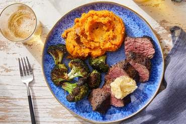 Spiced Steaks  & Honey Butter with Mashed Sweet Potatoes  & Lemon-Dressed Broccoli