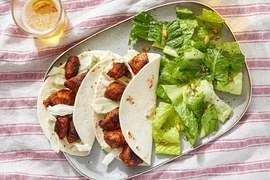 Chipotle-BBQ Chicken Tacos with Toasted Pepita & Romaine Salad