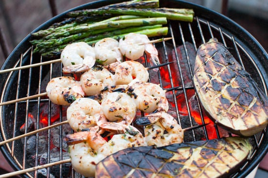 Grill the shrimp & vegetables: