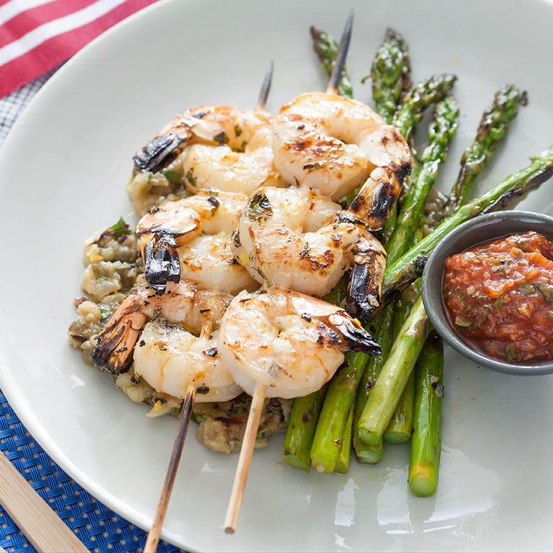 Grilled Shrimp Cocktail with Eggplant Caponata & Asparagus