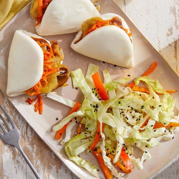 Tempura Mushroom Bao with Sesame Cabbage Slaw