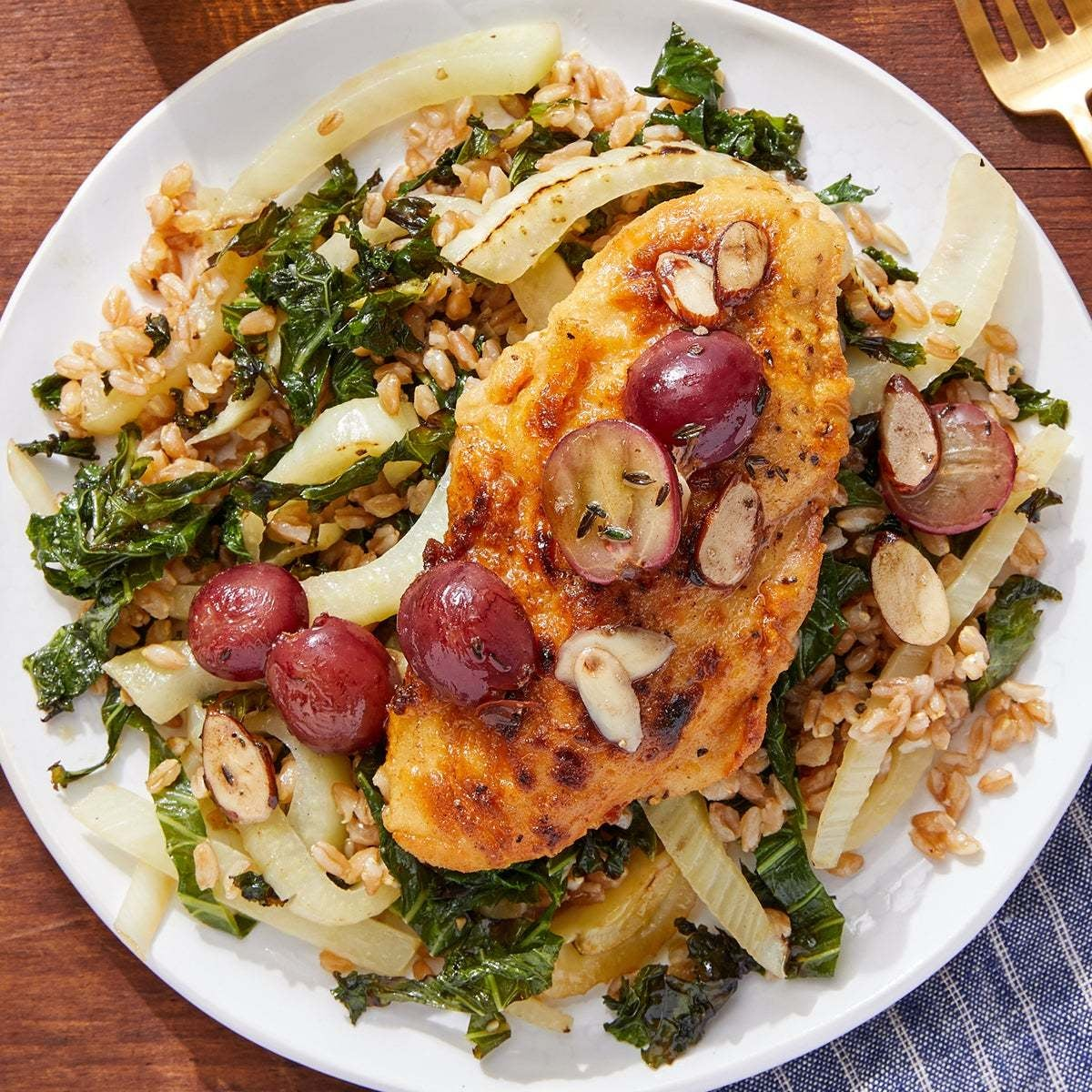 Chicken & Brown Butter-Grape Sauce with Fennel & Kale Farro