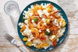 Cajun-Spiced Shrimp Bake with Remoulade & Sweet Pepper Rice