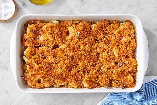 Bake the shrimp & finish the zucchini: