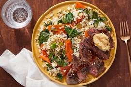 Miso-Butter Steaks & Jasmine Rice with Carrots & Yu Choy