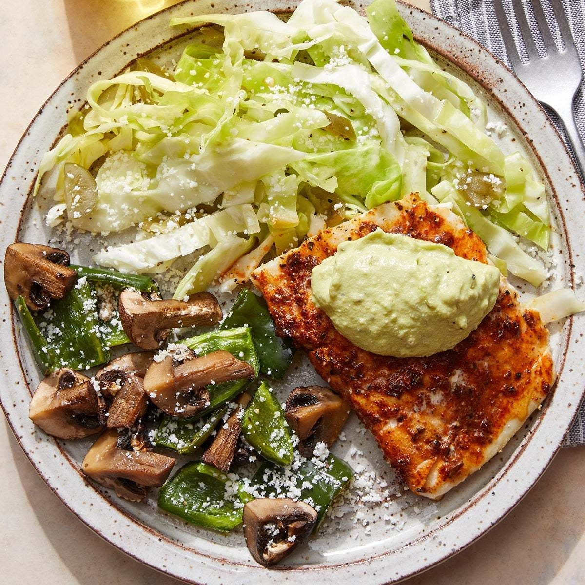 Chile-Lime Cod & Creamy Guacamole with Roasted Vegetables & Spicy Cabbage Slaw