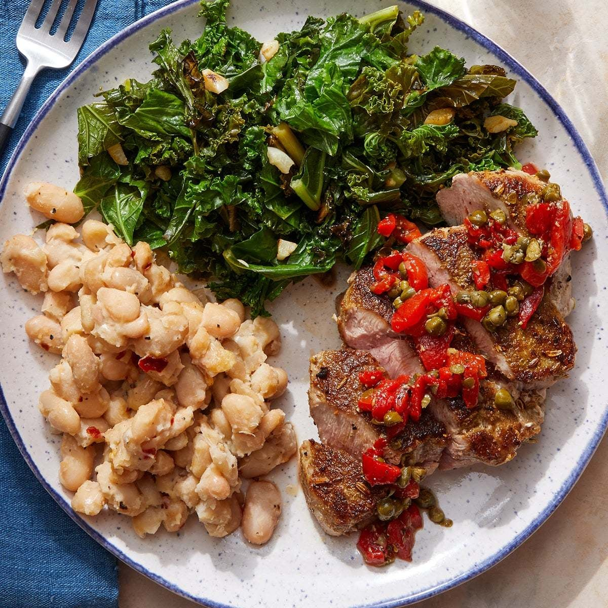 Tuscan Pork & Creamy  White Beans with Roasted Pepper & Caper Relish