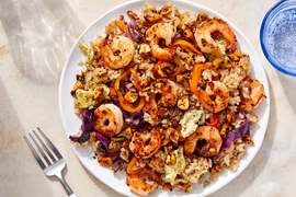 Shrimp & Vegetable Fried Rice with Togarashi Peanuts