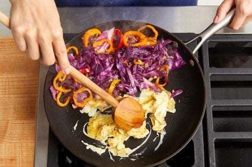 Cook the vegetables & egg: