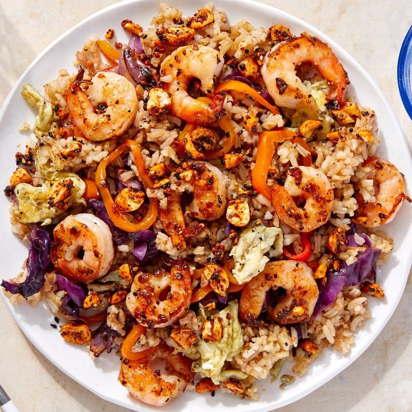 Shrimp & Vegetable Fried Rice with Togarashi Peanuts