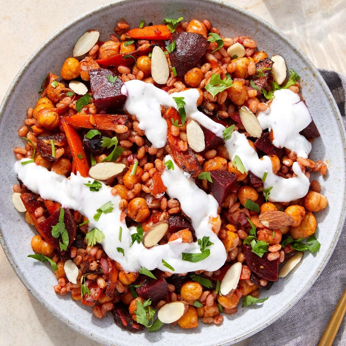 Mediterranean Chickpea Grain Bowls with Glazed Carrots, Dates & Lemon Yogurt