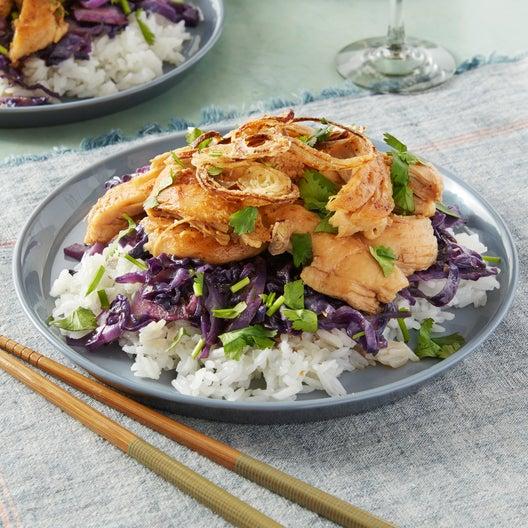 Taiwanese-Style Chicken with Jasmine Rice, Crispy Shallot, & Cilantro
