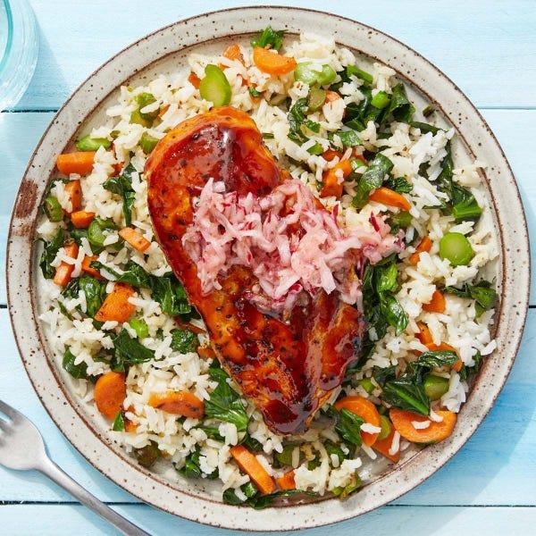 Gochujang-Glazed Chicken with Gai Lan, Carrots & Jasmine Rice