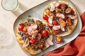 Chipotle Chicken Tostadas with Black Bean Mash & Tomato-Radish Salsa