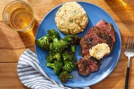 Cajun-Spiced Steaks & Biscuits with Broccoli & Maple Butter