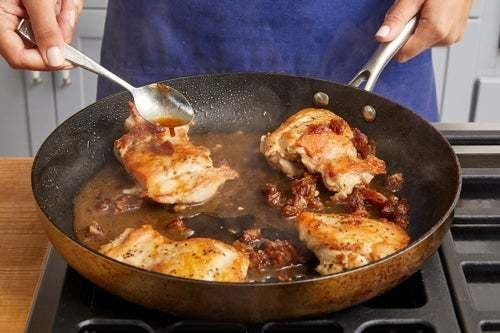 Finish the chicken & serve your dish: