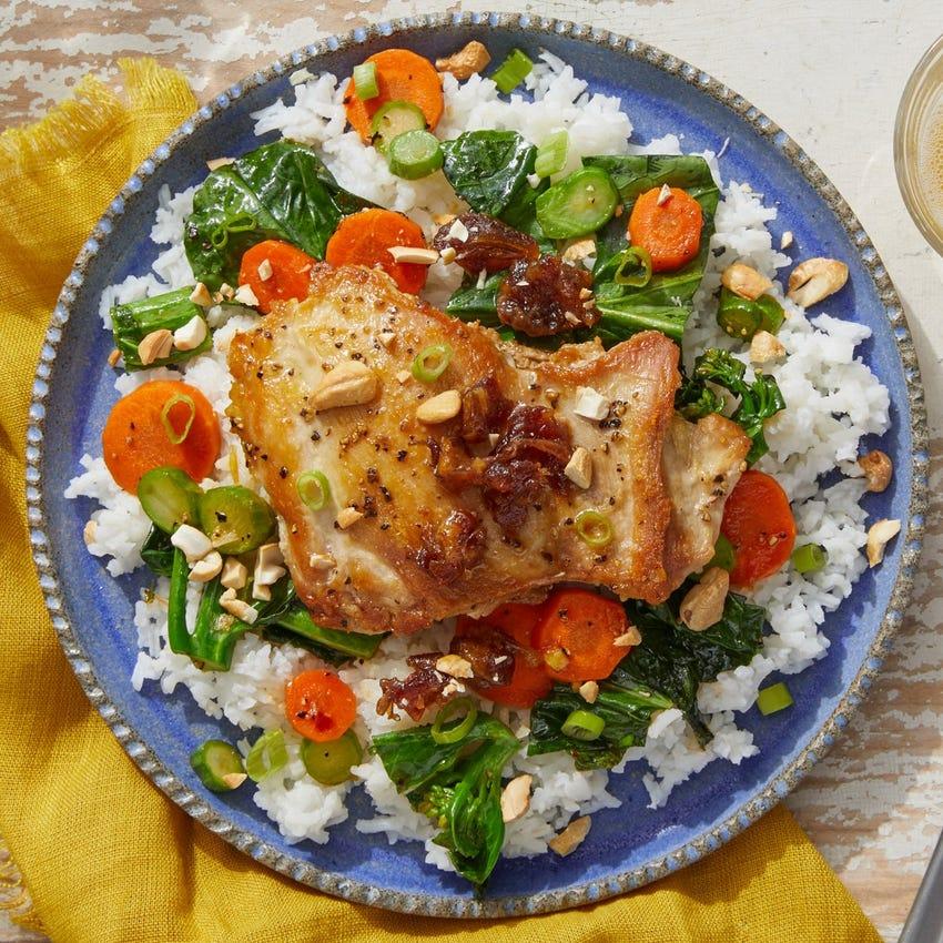Soy-Glazed Chicken Thighs with Cashews, Dates & Gai Lan
