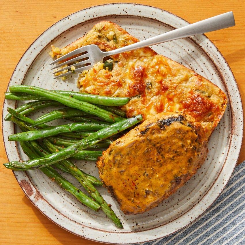 Seared Pork Chops & Cheesy Spoonbread with Sautéed Green Beans