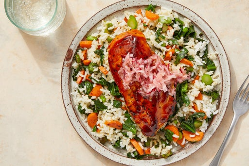 Sweet & Spicy Glazed Chicken with Vegetable Rice & Marinated Radishes