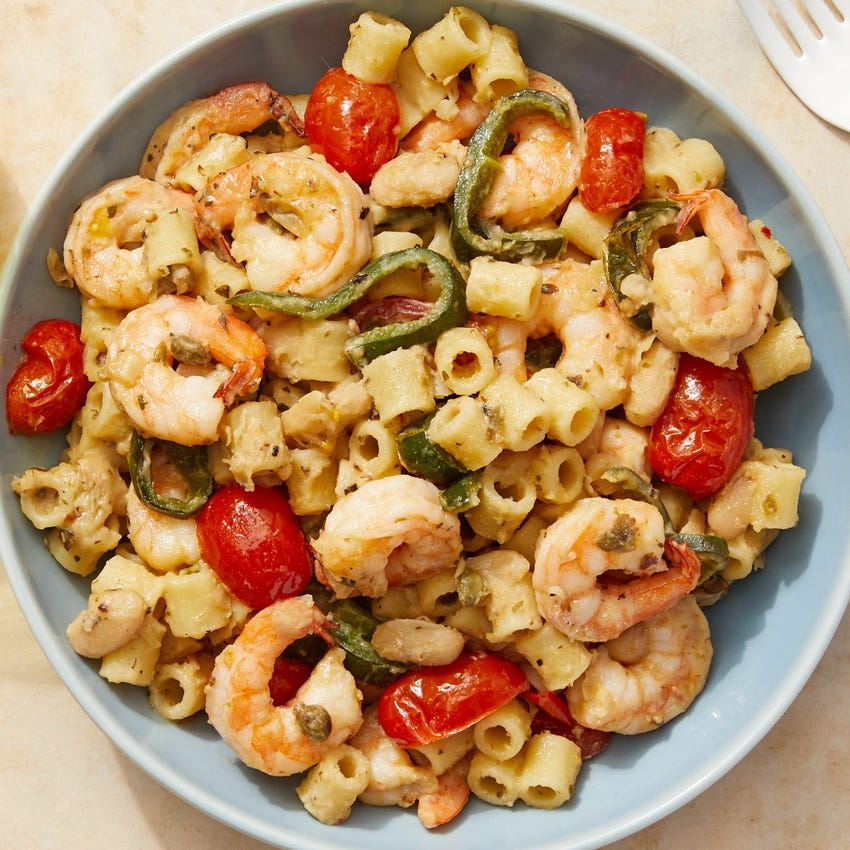 Creamy  White Bean & Shrimp Pasta with Tomatoes & Capers