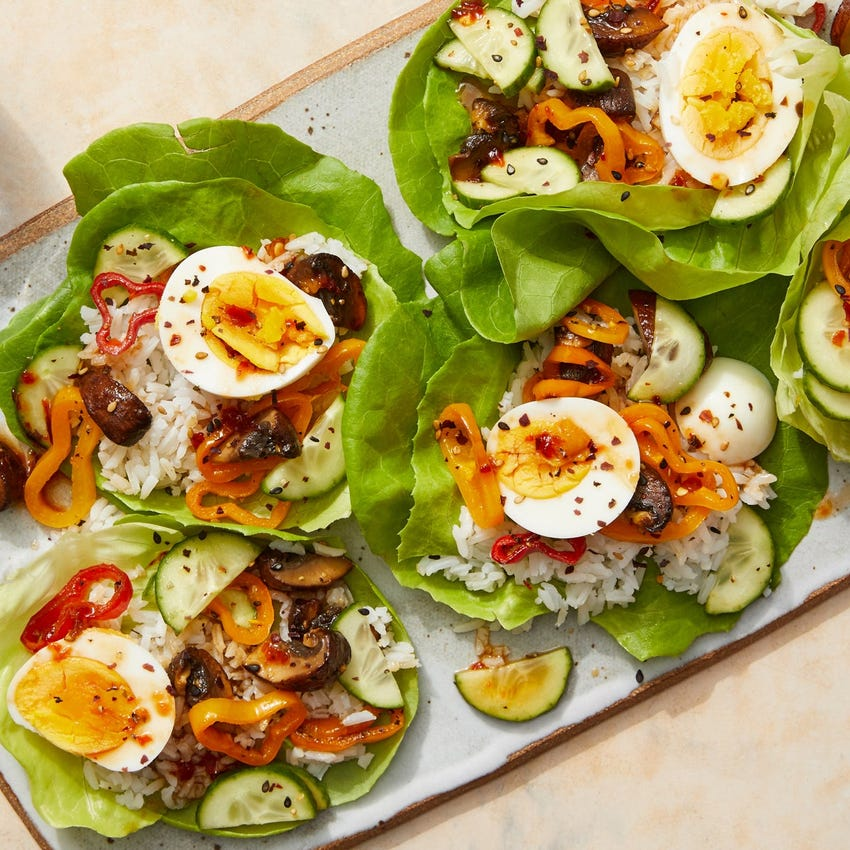 Spicy Sesame Vegetable Lettuce Cups with Hard-Boiled Eggs & Jasmine Rice