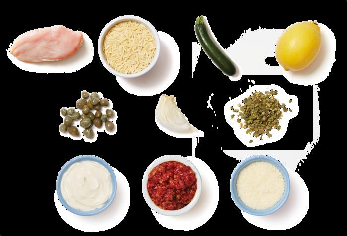 Garlic-Caper Chicken with Creamy Calabrian Zucchini & Orzo