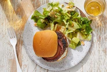 Curry Beef Burgers with Caramelized Onion & Lime Mayo
