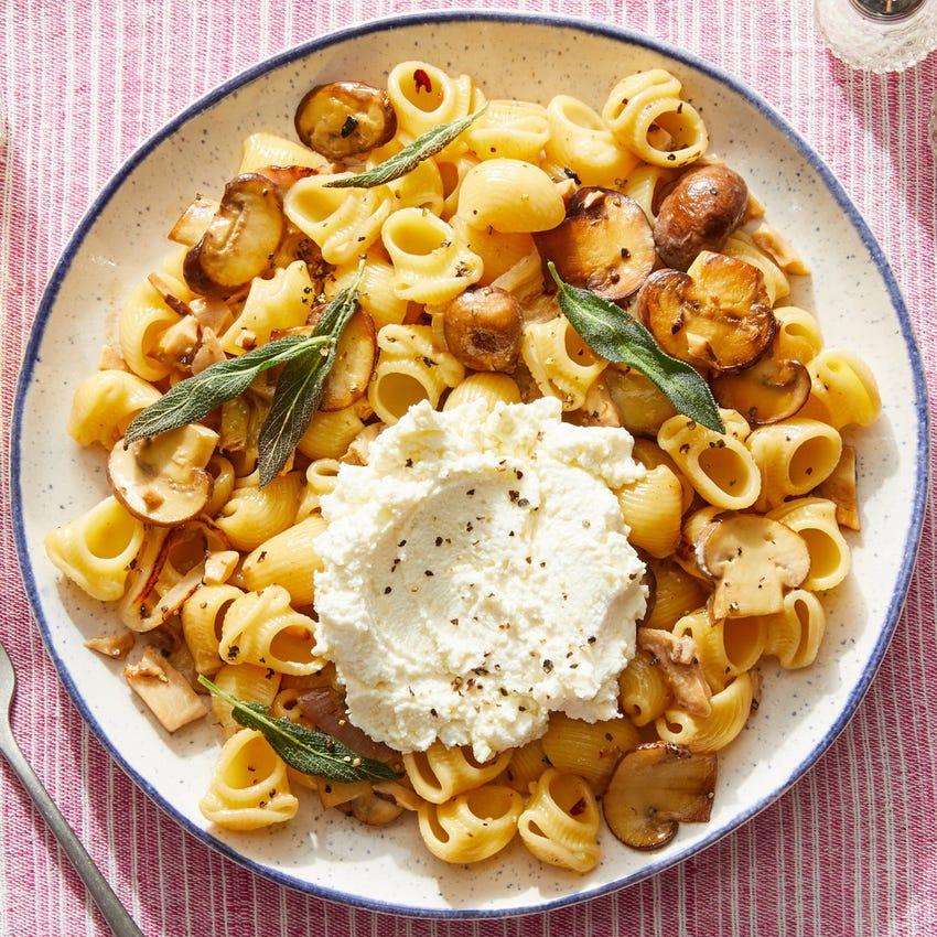 Three-Cheese Pasta with Cremini & Shiitake Mushrooms