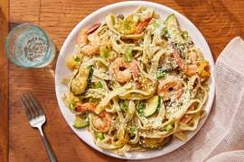 Shrimp & Basil Fettuccine with Yellow Tomato Sauce